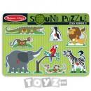 Melissa&Doug Puzzle lemn cu sunete: Animale de la Zoo (8 piese)