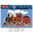 Melissa&Doug Puzzle lemn cu sunete: Locomotiva cu aburi (9 piese)