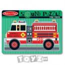 Melissa&Doug Puzzle lemn cu sunete: Masina de pompieri (9 piese)