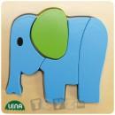 Lena Stick & Thread: Puzzle din lemn Elefant (4 piese)