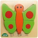 Lena Stick & Thread: Puzzle din lemn Fluture (5 piese)