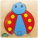 Lena Stick & Thread: Puzzle din lemn Buburuza (4 piese)