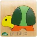 Lena Stick & Thread: Puzzle din lemn Broasca testoasa (5 piese)